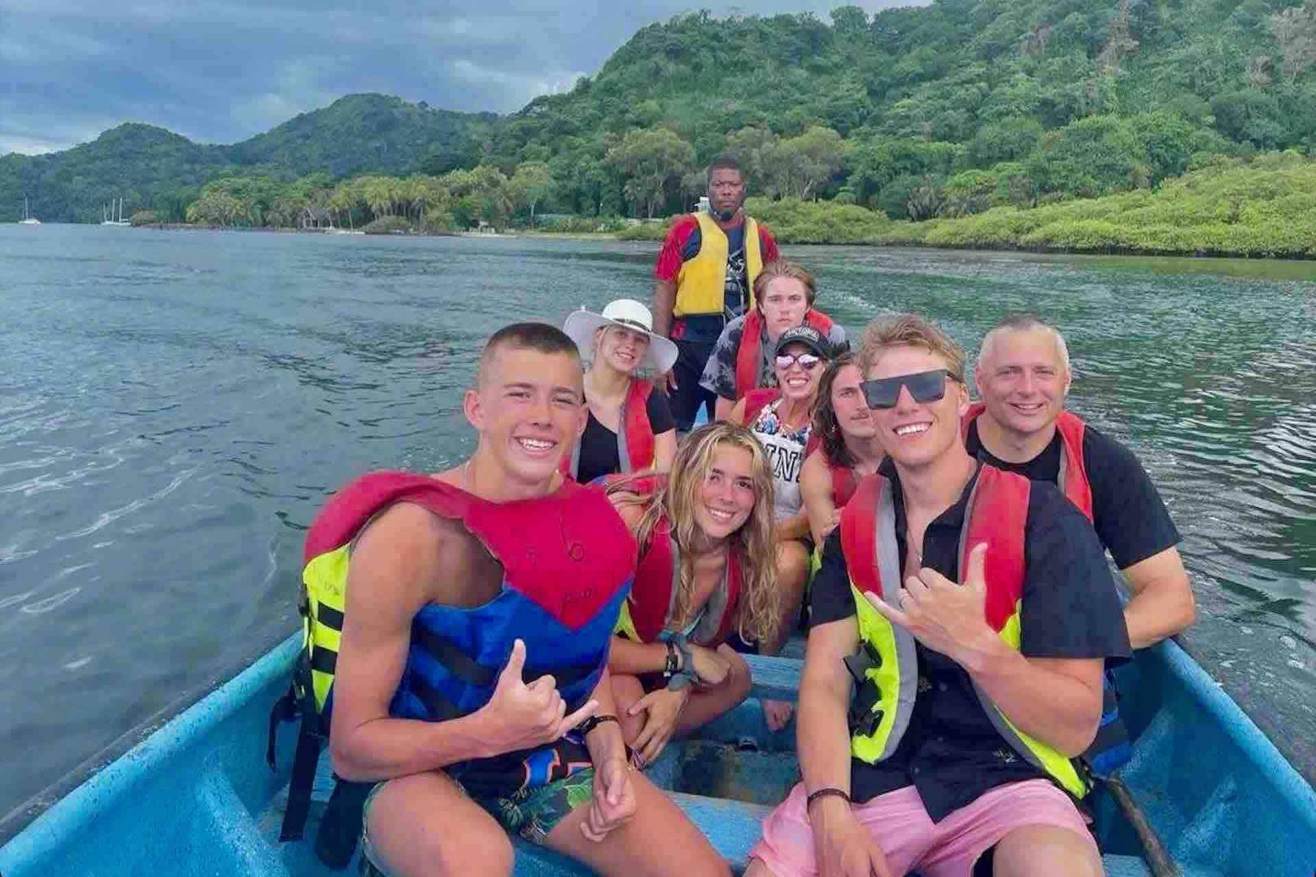 Panama Caribbean tour guests in lancha boat