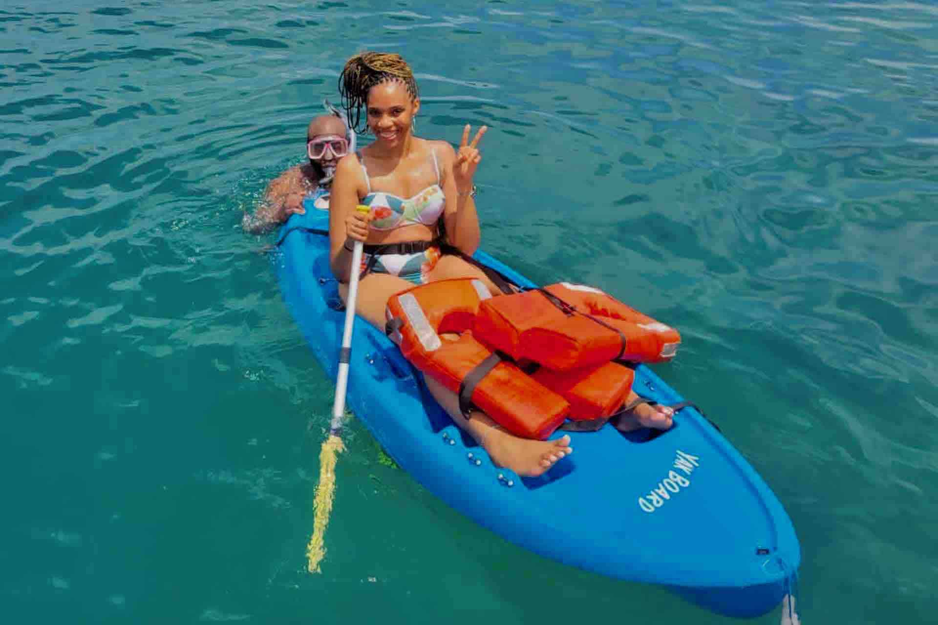 Panama Caribbean tour guests on kayak and snorkel