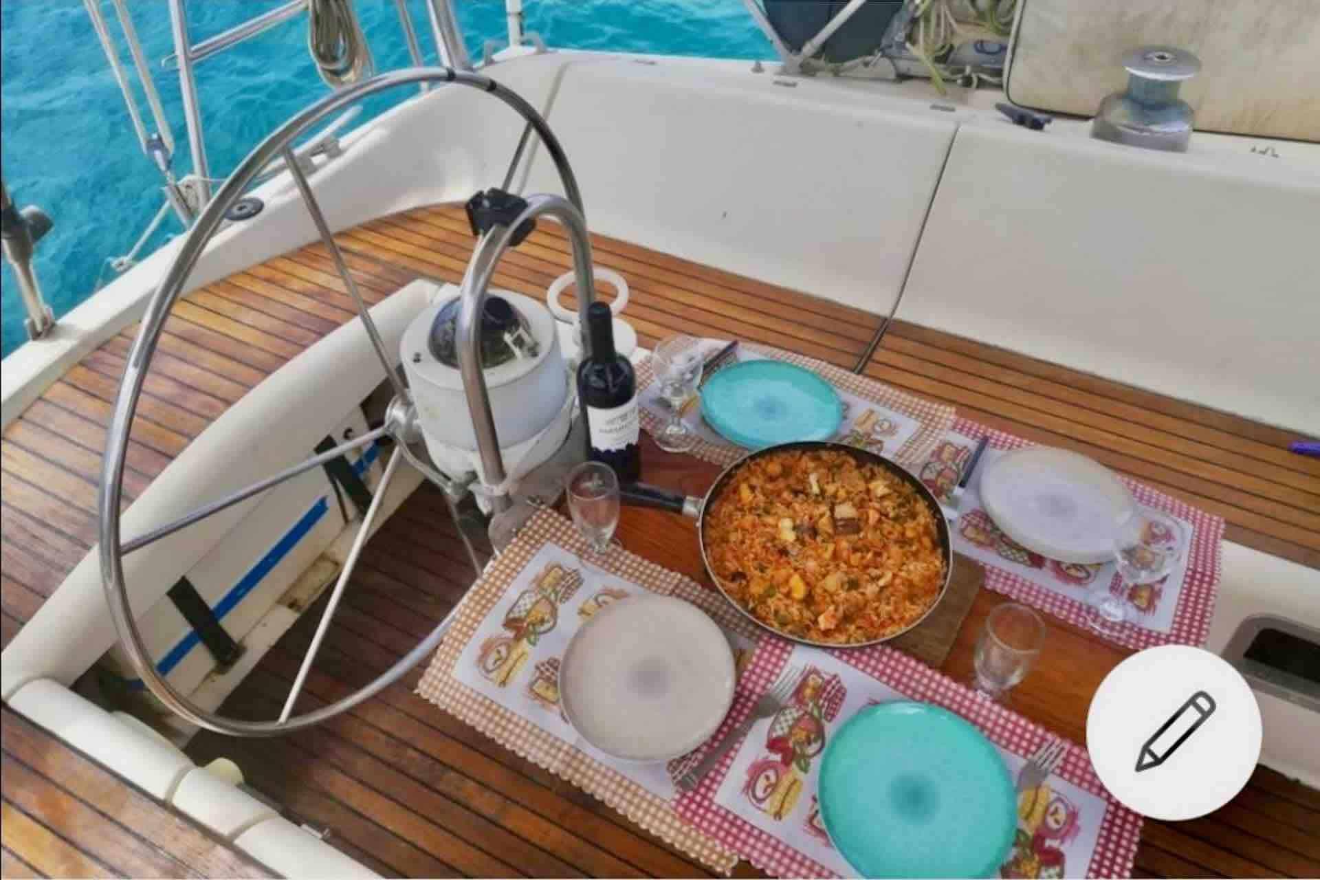 Dike San Blas sailboat cockpit with food