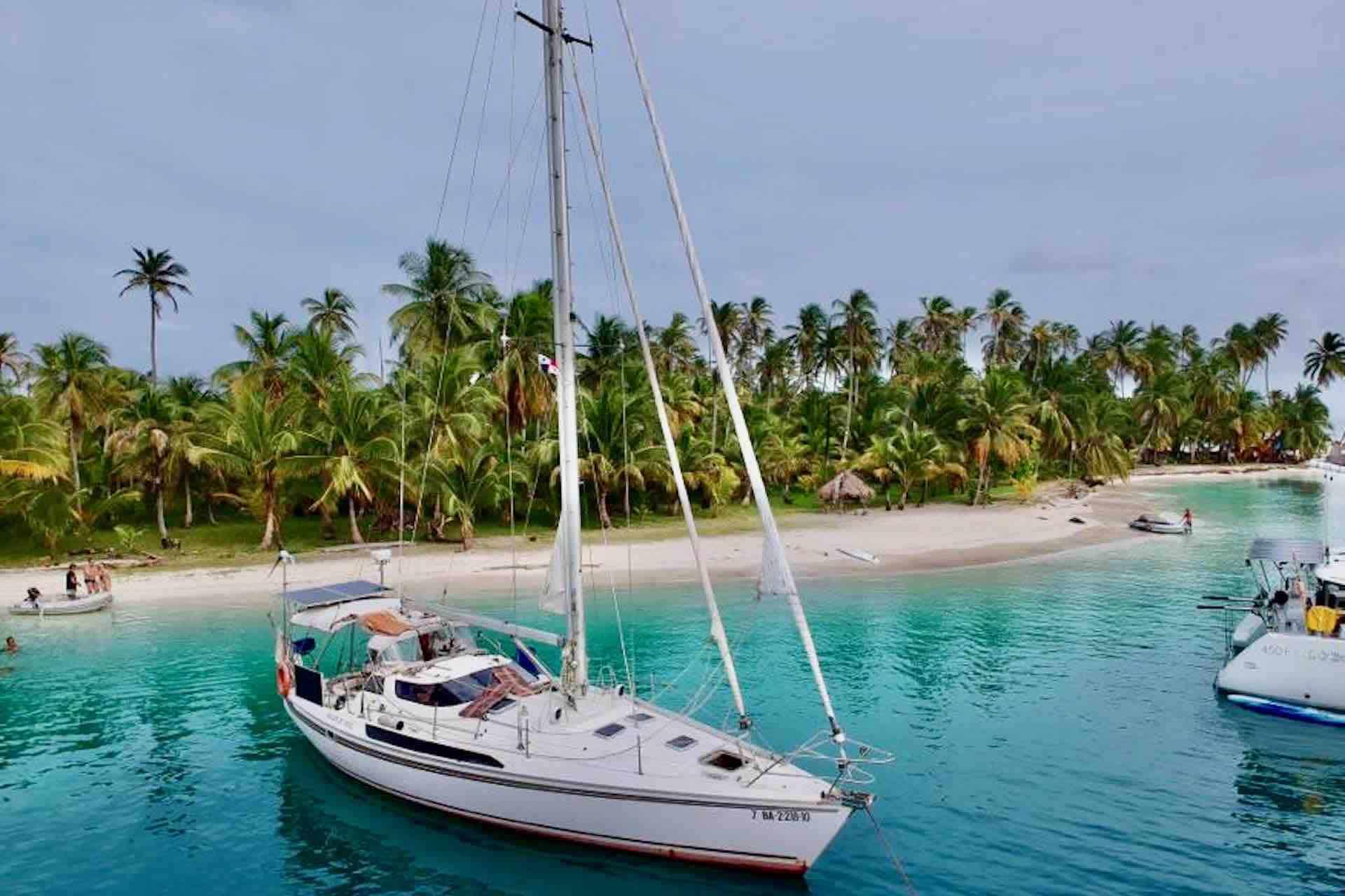Dike san blas sailboat anchored at island med-moor