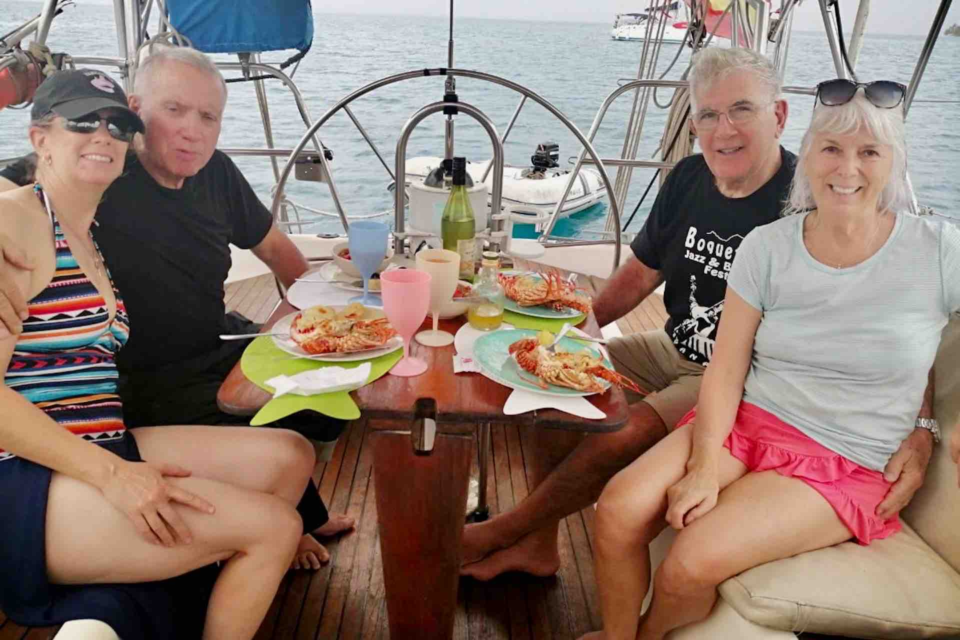 lunch on san blas sailboat with guests