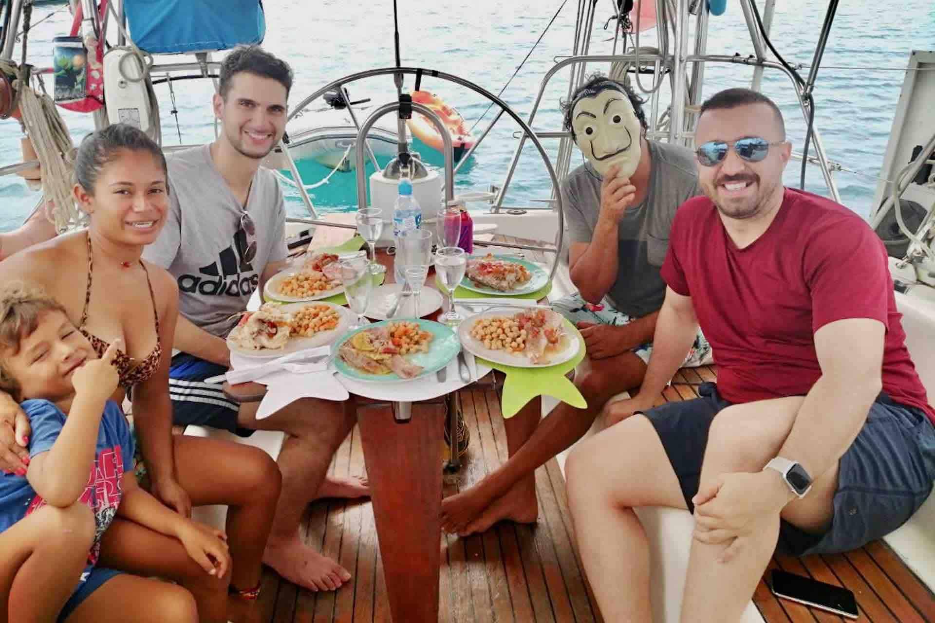 lunch on saiboat cockpit