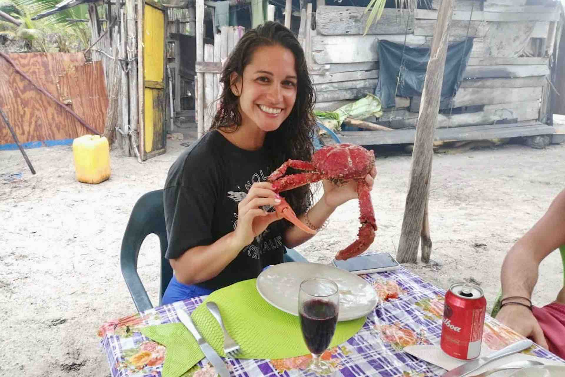 woman holding lobster