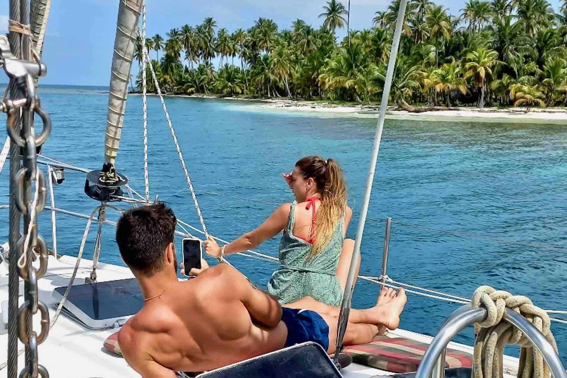 San Blas catamaran guests lounging