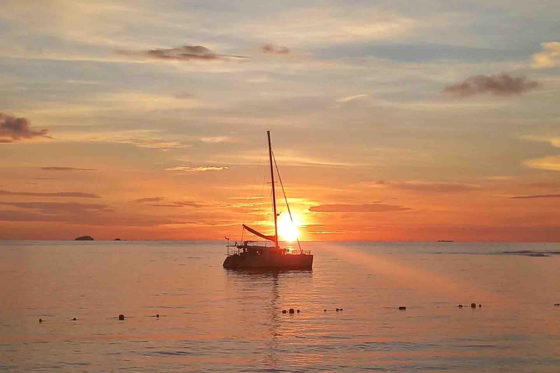 catamaran in san blas sunset
